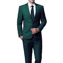 Dark Green Evening Party Men Suits for Wedding Prom Wear 2018 Two Piece Jacket Pants Trim Fit Custom Made Wedding Groom Tuxedos(China)