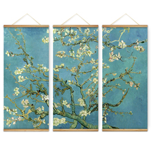 3 Pieces Impressionism Almond Blossom Decoration Wall Art Pictures Canvas Wooden Scroll Paintings For Living Room Ready To Hang