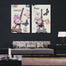 Paris Eiffel Tower Wall Art Pictures Canvas Prints 2 Piece Vintage TOWER Decor European and American Style Paintings No Frame(China)