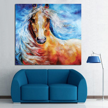 100% of hand-painted oil painting wild horses in all modern abstract art family adornment art wall without frame