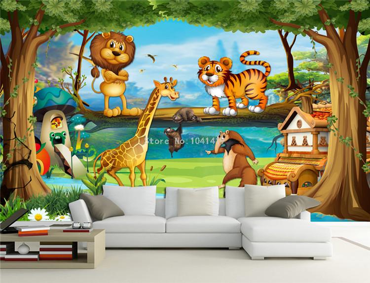 HTB1cqmkRFXXXXXiXFXXq6xXFXXXi - Beautiful 3D Cartoon Forest Animal World Wallpaper For Children Room-Free Shipping