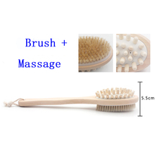 35cm 2-in-1 Side Best Natural Bristle Wooden Long Handled Shower Back Spa Bath Massage Brush Dry Skin Body Brush(China)