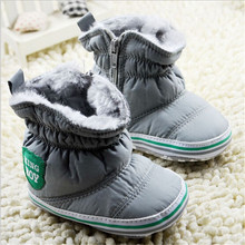 2015 Fashion Winter Boys Girls Baby Cotton Shoes Toddlers Plush Warm Shoes First Walkers Infants Solid Shoes Snow Boots