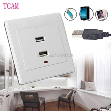 Dual USB Wall Socket Charger AC/DC Power Adapter Plug Outlet Plate Panel White -S018 High Quality