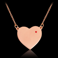 Heart shaped Pendant Necklace Rose Gold Red Crystal Rhinestones Chain For Women Girl Fashion DIY Jewelry Gift