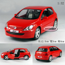 Candice guo! New arrival hot sale 1:32 mini Peugeot 307 hatchback car alloy model car toy 1pc(China)