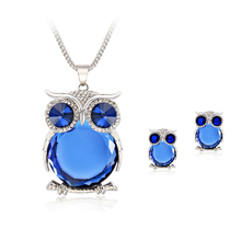 8 Colors Trendy Owl Jewelry Sets Fashion Rhinestone Crystal Jewelry Statement font b Women b font