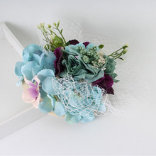 13cm*13cm New Lady Cocktail Hair Accessories Bride Sinamay Top Hat Fabric Flower Mesh Fascinator Clip Wedding Party Headdresss