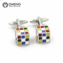 OMENG Fashion Enamel Superhero Metal Knots Magic Cube Cufflink Cuff Link 1 Pair Free Shipping Crazy Promotion
