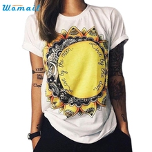 White Women Loose Sunflowers Printing Short Sleeve T Shirts Casual Tees Tops T-Shirt Amazing Mar 22