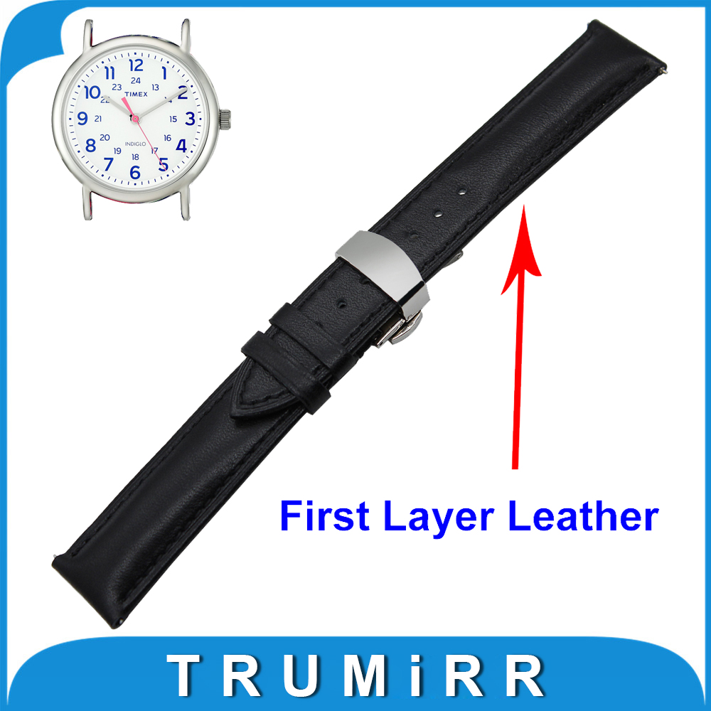 18mm 20mm 22mm Genuine Leather Watch Band Quick Release Strap for Timex Weekender Expedition Butterfly Clasp Wrist Belt Bracelet<br><br>Aliexpress