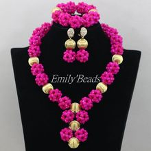 2016 Hot Fuchsia Pink African Wedding Crystal Beads Necklace Jewelry Sets Nigerian Wedding Costume African Jewelry Set AMJ941