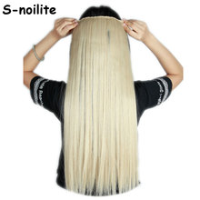 dark blonde mix bleach blonde Long 26 inches Straight 68CM 100% Real Thick 140g 3/4 Full Head Clip in Hair Extensions Synthetic(China)