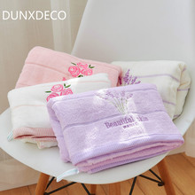 DUNXDECO 1PC Romantic Country Style Lavender Rose Embroidery High Quality Combed Terry Face Towel Bath Towel Home Textile