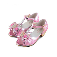 Girls sandals 2017 high heels children fashion princess leather summer elsa shoes chaussure enfants fille sandalias nina