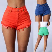 Aliexpress hot style Sexy Haroun Ms jeans Women's Hair must be candy color denim shorts tall waist hot pants pocket(China)