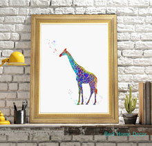 Giraffe Art Print Original Watercolor Poster Giraffe Wall Art Animal Nursery Wall Hanging Without Frame AP017(China)