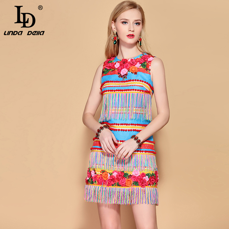 LD LINDA DELLA 2019 Fashion Runway Summer Dress Women's Sleeveless Gorgeous Floral Appliques Tassel A Line Elegant Mini Dress