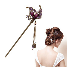 2016 fashion Women Elegant Purple Butterfly Bobby Pin Fashion Hairpin Rhinestone Hair Stick(China)