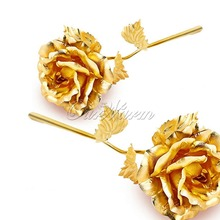 Mother's Day Rose Gold Dipped Rose Artificial Flower Plastic with Gold Foil Plated 24K for Valentine's day Craft Gift