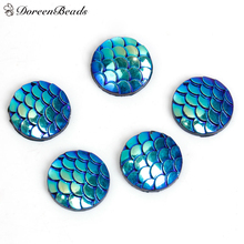 "DoreenBeads Resin Mermaid Fish /Dragon Scale Dome Seals Cabochon Round Blue AB Color 12mm( 4/8"") Dia, 100 PCs(China)"