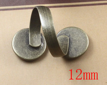 100pcs 12mm Antique Brass Pad Open Adjustable RING Base,Ring base beads,jewelry findingsfindings