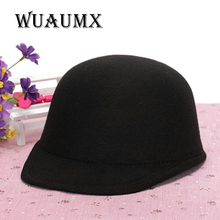 [Wuaumx] Vintage Winter Fedoras Hat For Female Equestrian Cap Parent Child Cap Lady Girls Homburg Cute Women'S Hat Baseball Cap(China)