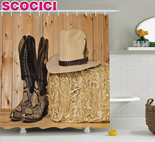 Western Decor Shower Curtain Snake Skin Cowboy Boots Timber Planks in Barn with Hay Old West Austin Texas Fabric Bathroom Decor