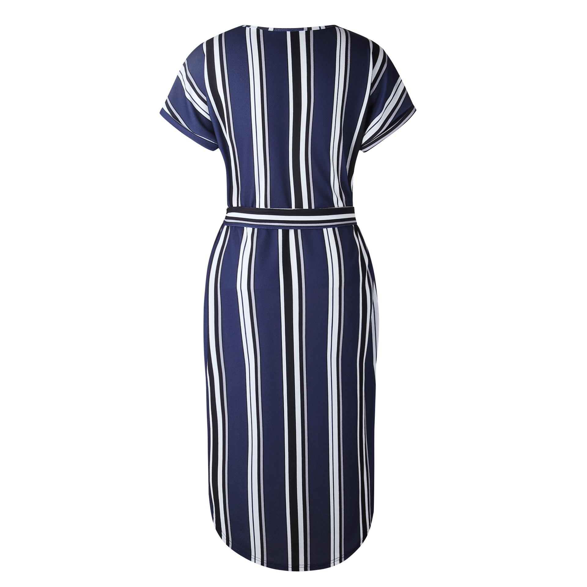 2018 Summer Dress Women Print V Neck Short Sleeve Robe Female Dresses Casual Sashes Midi Dress Ladies Elegant Vestidos Dropship 36