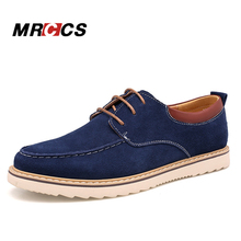 MRCCS Spring Autumn Classic Design Men's Platform Shoes,Suede Leather Lace Up Casual Shoe,Daily Fashion Style Blue Men Boat Shoe(China)