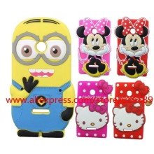 For Microsoft Lumia 435 Case 3D Silicone Cartoon Minnie Mouse Hello Kitty Minions Cell Phone Cases Cover For Nokia Lumia 532