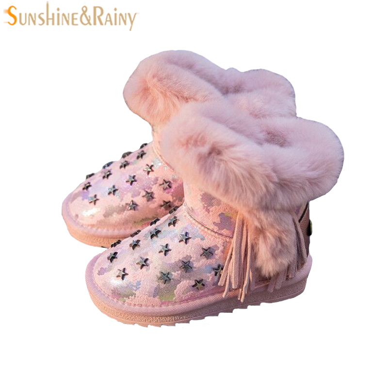 Childrens Snow Boots With Fur Star Rivet Winter Kids Rubber Boots Warm Non-slip Shoes Princess Girls Leather Boots Teenage<br>