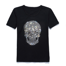 Sequin Skull Print Basic Shirt White Black Man Women Cotton Soft Tee Shirt