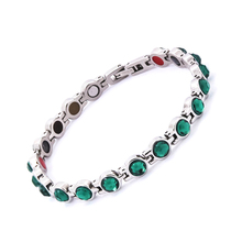 38 Health Jewelry  negative ion stainless steel  jewelry magnetic bracelet with zircon fashion women energy bracelets bangles