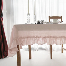 Vintage  Flounce 100% Pure Linen Table Cloth Tablecloths Universal Dust Cover Coffee Table Towel Customer Tablecloth
