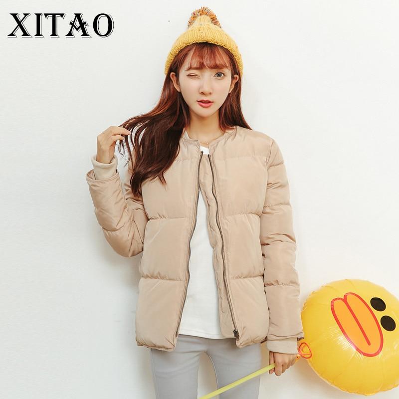 [XITAO] 2017 Autumn Winter New Korea Women Casual Slim Solid Color Parkas Wide-waisted Full Sleeve Short Parkas KY629Îäåæäà è àêñåññóàðû<br><br>