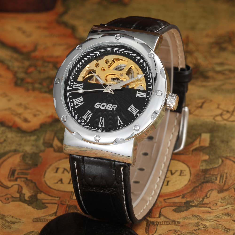 GOER Men Watches Top Brand Luxury Automatic Self-Wind Mechanical Skeleton Watches Casual Sports Men Watches Relogio Masculino<br><br>Aliexpress