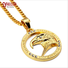 2016 Fashion Jewelry Carat Gold Plating Eagle Head Tide Brand For Men Women Hip Hop Fashion Jewelry Necklace Pendant