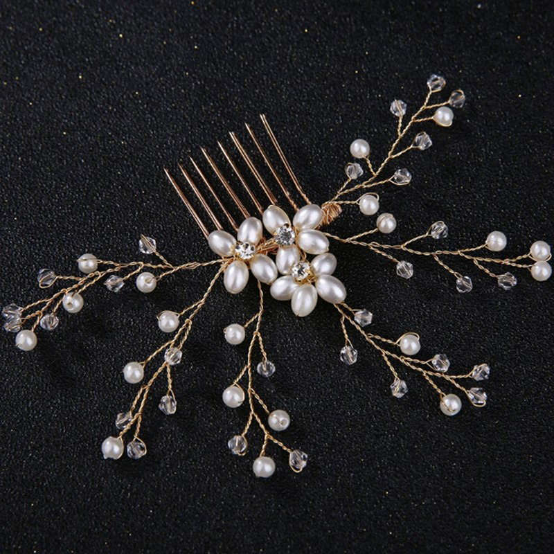 Bride Pearl Flower Hair Comb For Women Hairband Wedding Tiaras Crown Headband Clips 2 Colors Jewelry Hair Accessories Hot