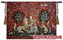 Belgium medieval home decoration textile unicorn series - visual big 138*103cm jacquard fabric picture tapestry wall hangings(China)