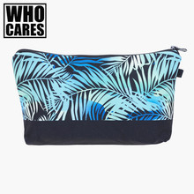 Blue palm 3D Printing Makeup Bags With Multicolor Pattern Cute Cosmetics Pouchs For Travel Ladies Pouch Women Cosmetic Bag(China)