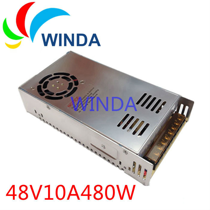 High power 480W switching power supply output 48V 10A built-in cooling DC fan security full range DC transformer 110V 220V<br>