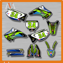 Customized Team Graphics & Backgrounds Decals 3M Stickers For KAWASAKI KX125 KX250 KX 125 250 2003 2004 2005 2006 2007 2008