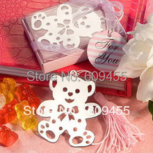 30pcs/lot+Small Order Lovely Bear Design Bookmark In Pink Gift Box Baby Girl Shower Favor Birthday Party Giveaway+FREE SHIPPING(China)