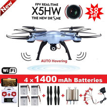 SYMA X5HW Quadrocopter Drone Camera Wifi FPV HD Real-time 2.4G 4CH RC Helicopter Quadcopter RC Dron Toy (X5SW Upgrade)