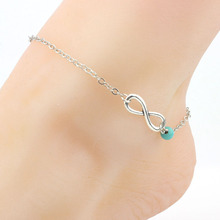 H:HYDE 1pc Unique Barefoot Anklet Sexy Beads Silver Chain Anklet Sandals Ankle Bracelet Foot Jewelry Female Summer Beach