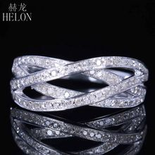 HELON Cluster Style Solid 10K White Gold Pave Natural Diamonds Engagement Band Wedding Women's Fine Jewelry Real Diamonds Ring