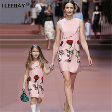 Princess Flower Dress for Mother and Girls Summer Family matching Outfits Children Rose Vest Dress Mum Daughter Sundress Costume