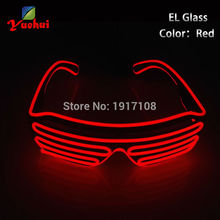 2017 Hot Sales EL Wire Neon LED Light Up Shutter Fashionable Glasses For Party Decoration With Flashing/Steady On EL Inverter(China)