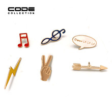 Fashion Korea Style Brooch Pins Alloy Enamel Mini Cute Badges for Hat Bag Cloth Accessories Decoration Lightling Hand Music